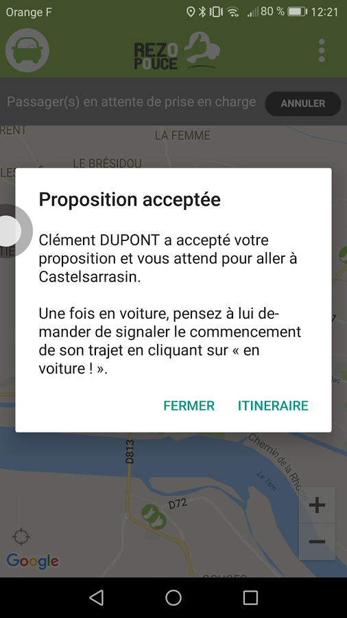 Capture d'écran d'une notification de l'application mobile Android Rezopouce
