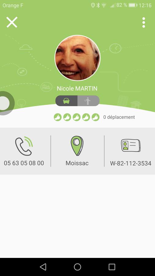 Capture d'écran d'une vue du profil utilisateur de l'application mobile Android Rezopouce